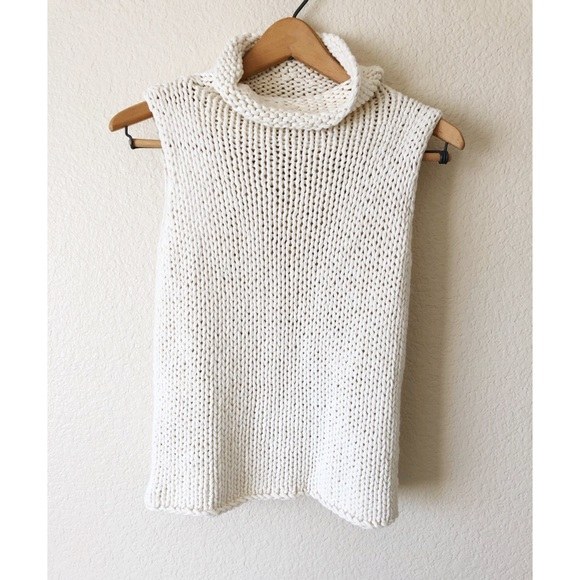 The Limited Tops - The limited hand knit large knit cream tank top